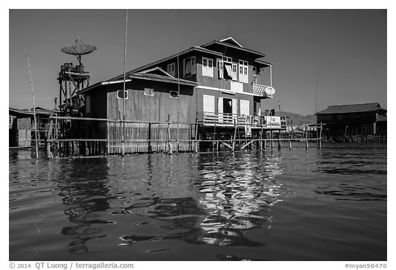 House on stilts. Inle Lake, Myanmar (black and white)