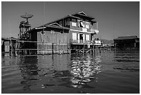 House on stilts. Inle Lake, Myanmar ( black and white)