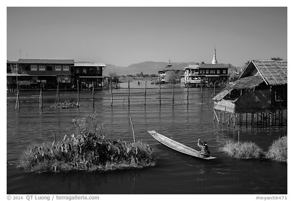 Canal intersection. Inle Lake, Myanmar (black and white)
