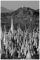 Jungle of stupas in various srages of disrepair, Indein. Inle Lake, Myanmar ( black and white)