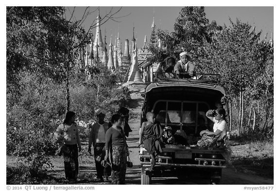 Villagers and truck near Shwe Indein Pagoda. Inle Lake, Myanmar (black and white)