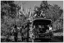 Villagers and truck near Shwe Indein Pagoda. Inle Lake, Myanmar ( black and white)