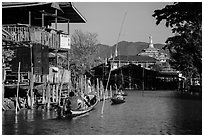 Canal in Ywama Village. Inle Lake, Myanmar ( black and white)