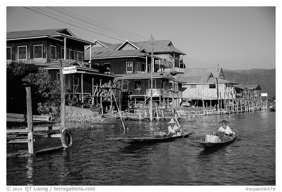 Houses on stilts in Ywama Village. Inle Lake, Myanmar (black and white)