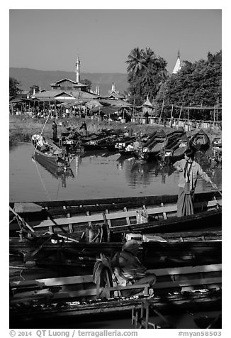 Parked boats and market. Inle Lake, Myanmar (black and white)