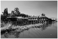 Nga Phe Kyaung monastery. Inle Lake, Myanmar ( black and white)