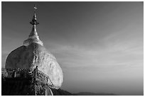 Golden Rock and monk, late afternoon. Kyaiktiyo, Myanmar ( black and white)