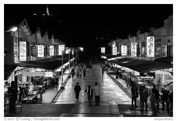 Restaurants at night, Potemkin village. Kyaiktiyo, Myanmar (black and white)