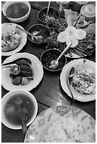 Typical Burmese lunch. Bago, Myanmar ( black and white)