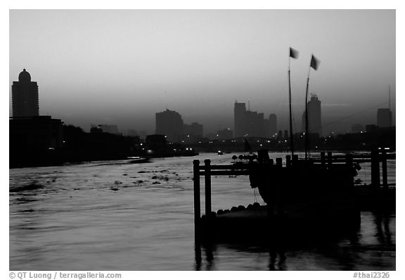 Sunset over Chao Phraya river. Bangkok, Thailand (black and white)