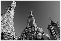 Towers of the Wat Arun. Bangkok, Thailand (black and white)