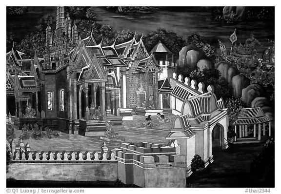 Mural painting showing the Grand Palace. Bangkok, Thailand (black and white)