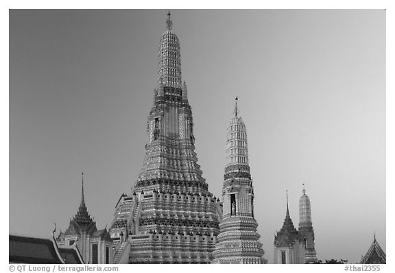 Wat Arun, temple of dawn named after Indian god of dawn. Bangkok, Thailand (black and white)