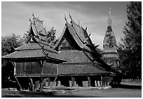 Thai rural temple architecture in northern style. Muang Boran, Thailand ( black and white)