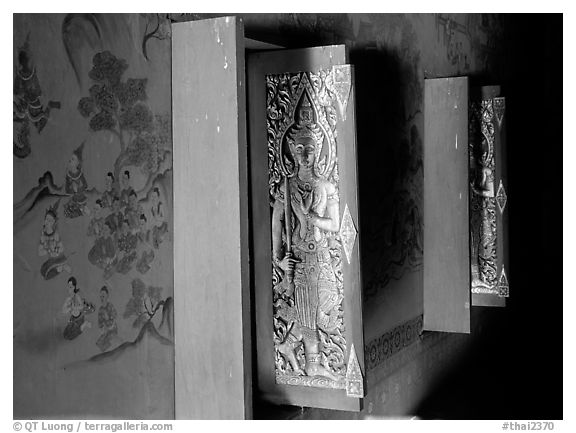 Windows and mural paintings. Muang Boran, Thailand (black and white)
