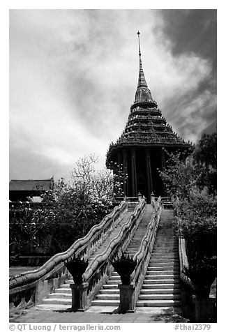 Stairs with snake-shaped ramp. Muang Boran, Thailand (black and white)