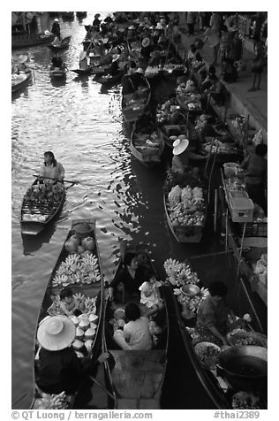 Canal from above, floating market. Damnoen Saduak, Thailand (black and white)