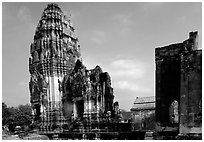 Ruins in classic Khmer-Lopburi style. Lopburi, Thailand (black and white)