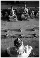 Buddha images, Wat Chai Mongkon. Ayuthaya, Thailand ( black and white)