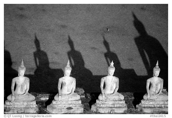Buddha images and shadows, Wat Chai Mongkon. Ayutthaya, Thailand (black and white)