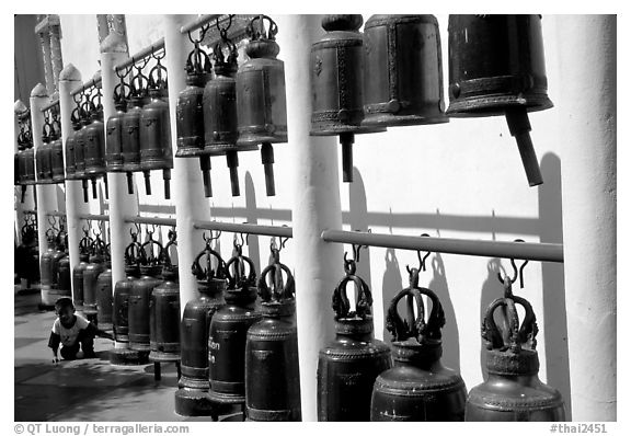 Bells at Wat Phra That Doi Suthep. Chiang Mai, Thailand (black and white)