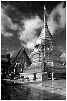 Gold umbrella and chedi of Wat Phra That Doi Suthep. Chiang Mai, Thailand ( black and white)