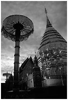 Wat Phra That Doi Suthep at sunset. Chiang Mai, Thailand ( black and white)