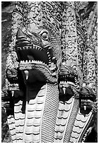 Nagas at Wat Chedi Luang. Chiang Mai, Thailand ( black and white)