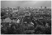 Temple complex and city skyline. Bangkok, Thailand (black and white)
