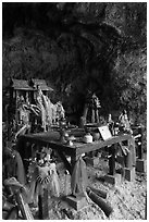 Tham Phra Nang (princess cave) shrine, Railay. Krabi Province, Thailand ( black and white)