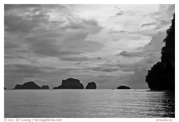 Offshore limestone islets, Railay. Krabi Province, Thailand (black and white)