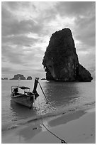 Boat and limestone islets, Rai Leh. Krabi Province, Thailand (black and white)