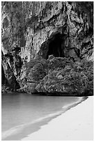 Beach, cliff and cave, Rail Leh. Krabi Province, Thailand (black and white)