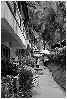 Resort on rainy day, Rai Leh East. Krabi Province, Thailand (black and white)