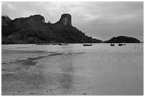 Mud flats and bay at low tide, Rai Leh East. Krabi Province, Thailand (black and white)