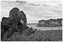 Thaiwand wall and bay, Rai Leh. Krabi Province, Thailand (black and white)