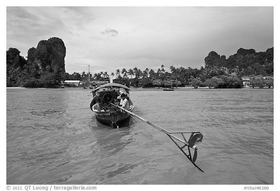 Tail of boat, and Railay East. Krabi Province, Thailand (black and white)
