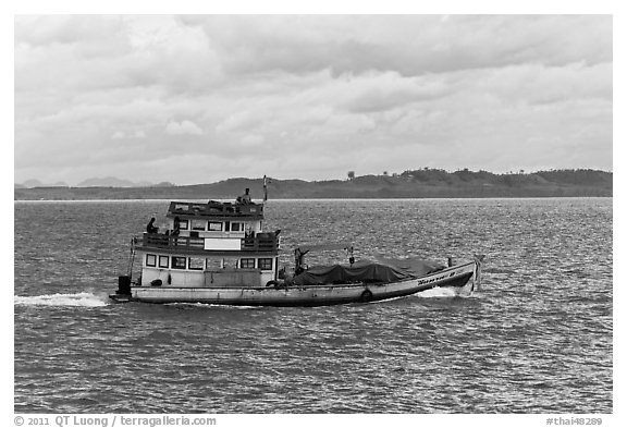 Fishing boat, Adaman Sea. Krabi Province, Thailand (black and white)