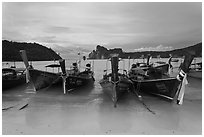Long tail boats and bay, Ao Lo Dalam, Ko Phi-Phi island. Krabi Province, Thailand (black and white)