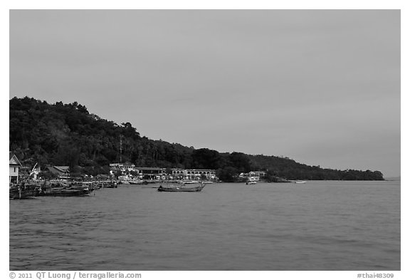 Shoreline and hills at dusk, Phi-Phi island. Krabi Province, Thailand (black and white)