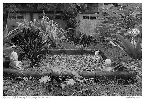Grave in muslim cemetery, Ko Phi-Phi Don. Krabi Province, Thailand (black and white)
