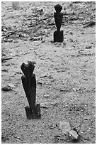Grave markers, islamic cemetery, Phi-Phi island. Krabi Province, Thailand ( black and white)