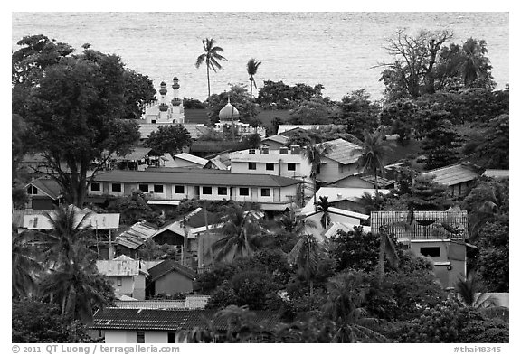 Village and mosque from above, Ko Phi-Phi Don. Krabi Province, Thailand (black and white)