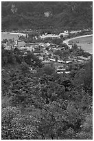 Tonsai village from above, Ko Phi Phi. Krabi Province, Thailand ( black and white)