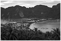 Tonsai village, bays, and hill at dusk from above, Ko Phi Phi. Krabi Province, Thailand ( black and white)