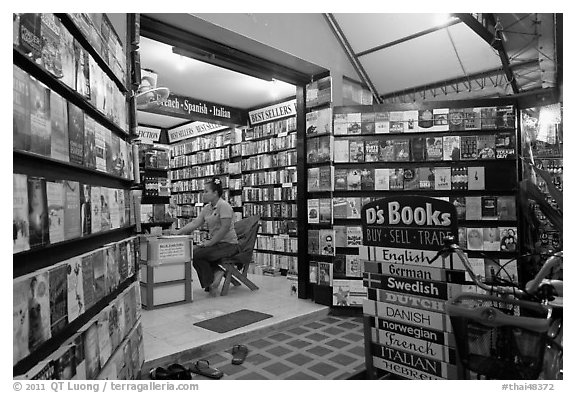 International bookstore, Phi-Phi island. Krabi Province, Thailand (black and white)