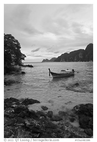Boat in cove, Ko Phi-Phi island. Krabi Province, Thailand (black and white)