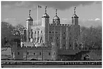 Tower of London, with a view of the water gate called Traitors Gate. London, England, United Kingdom (black and white)