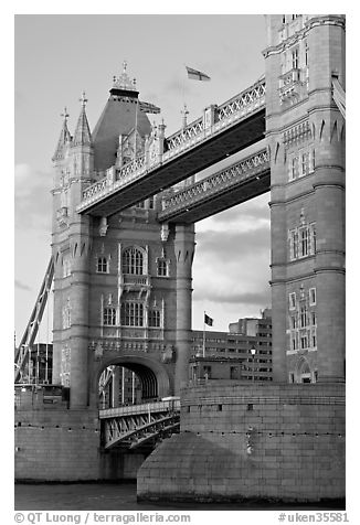 Close view of the Tower Bridge, a landmark 1876 bascule bridge. London, England, United Kingdom (black and white)
