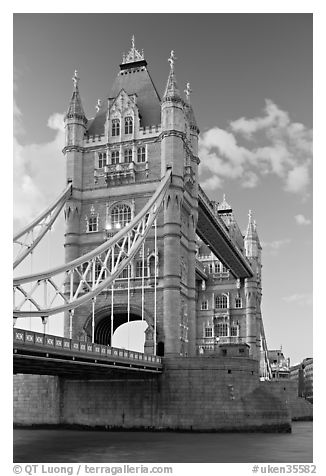 Tower Bridge from below. London, England, United Kingdom (black and white)